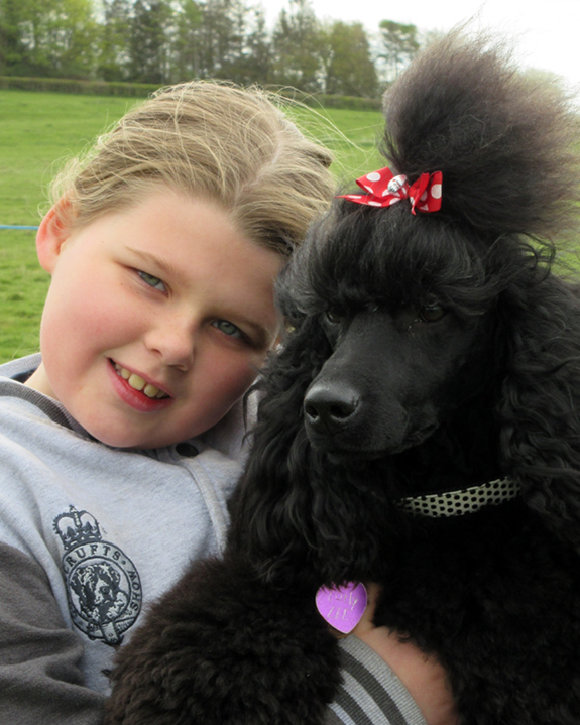 Young girl hugging a fluffy black dog with a bow tie in its hair.